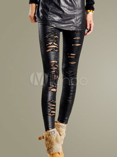 75c02dc4a2e6d9 Women Black Pants 2019 Cut Out PU Leather Skinny Leggings | Gothic ...