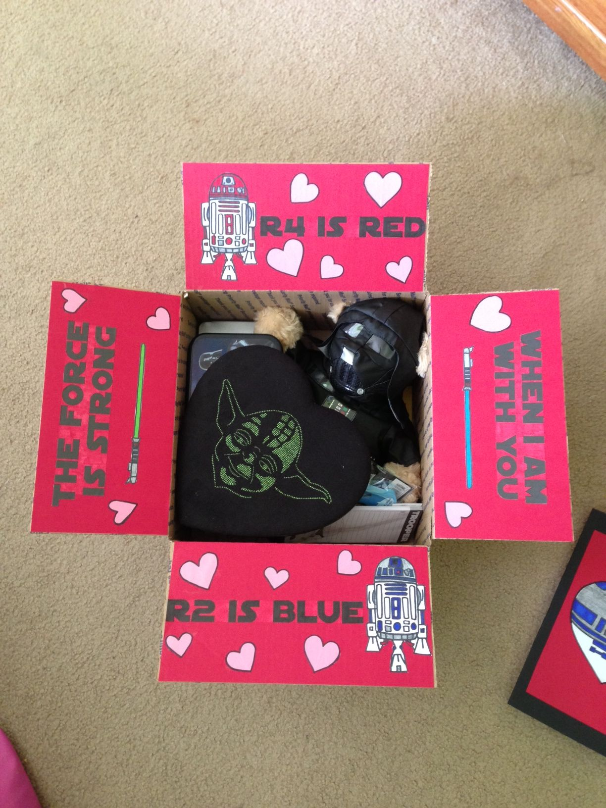 Star Wars Valentine S Day Care Package I Made For John Star Wars Valentines Valentines Day Care Package Birthday Care Packages