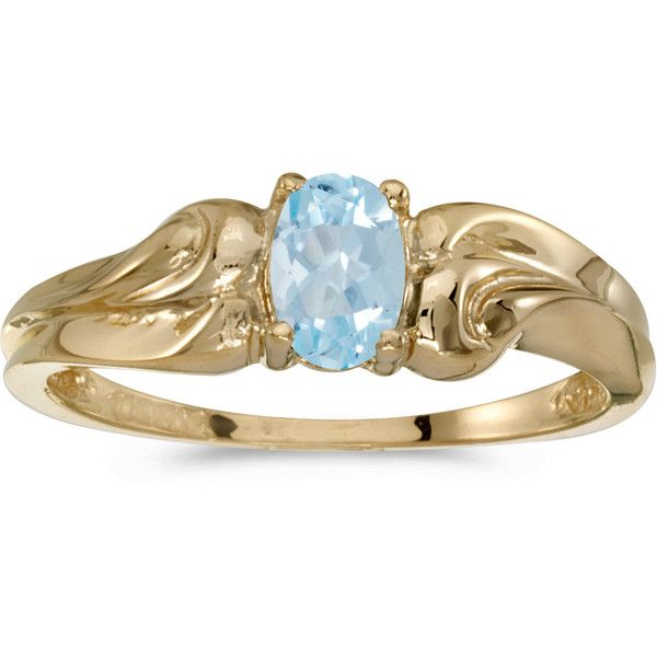 14k Yellow Gold Oval Aquamarine Ring (CM-RM1037X-03) (5,350 MXN) ❤ liked on Polyvore featuring jewelry, rings, gold oval ring, aquamarine rings, yellow gold rings, oval ring and gold jewelry
