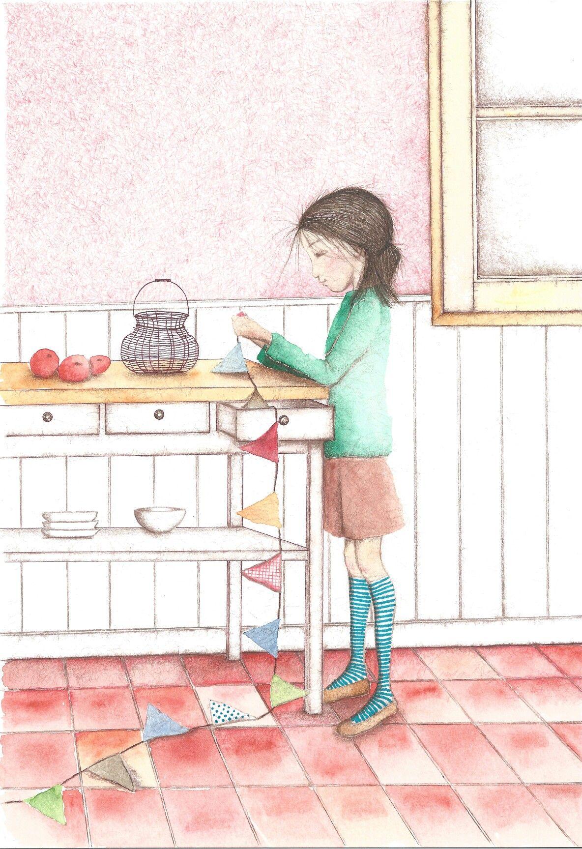 Técnica mixta, niña en cocina