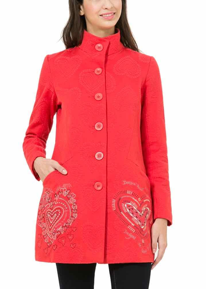 65E29A0_3000 Desigual Coat Mydidat Rep Red, Red Jacket