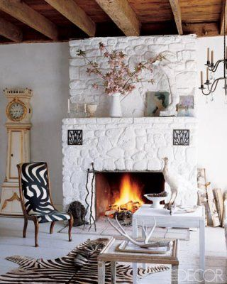 Dwellers Without Decorators Elle Decor Living Room Fireplace Design Stone Fireplace Designs
