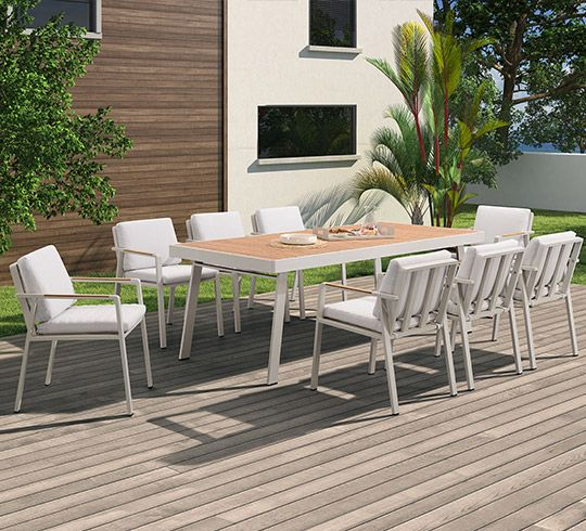 salon de jardin beige aluminium et teck nofi 8 personnes salon de jardin aluminium table de. Black Bedroom Furniture Sets. Home Design Ideas