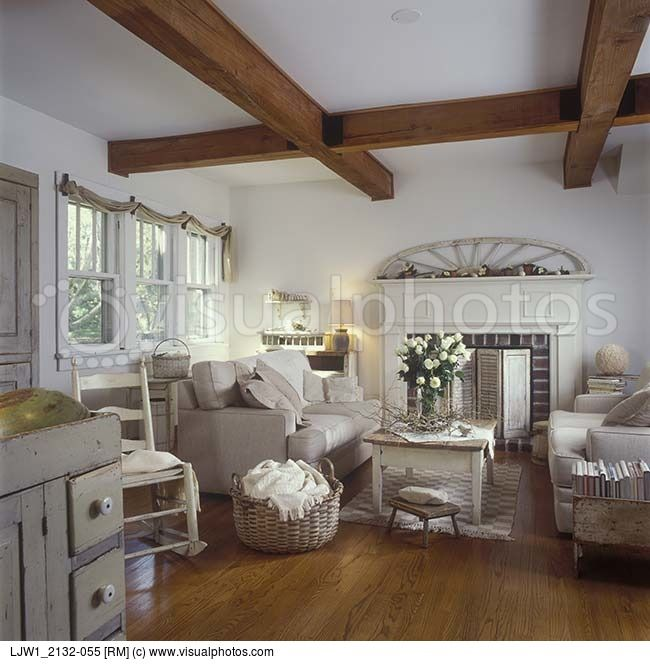 Taupe and cream country living room.   Living Space   Home ...