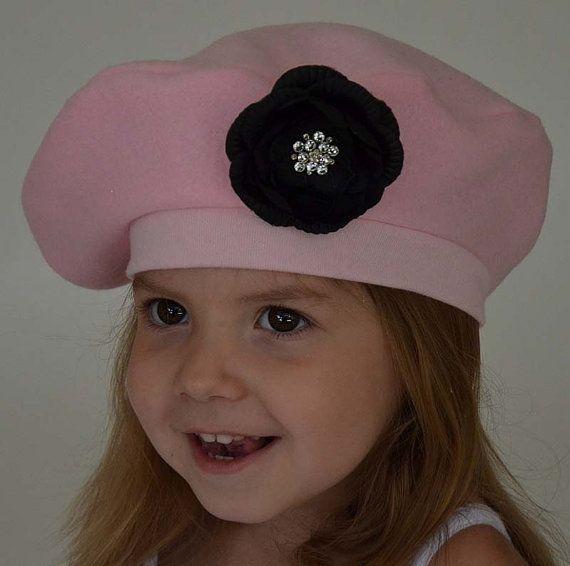 Girls French Beret Kids Hat Pink Black Flower by debsKidstuff ... 707787c2ab1