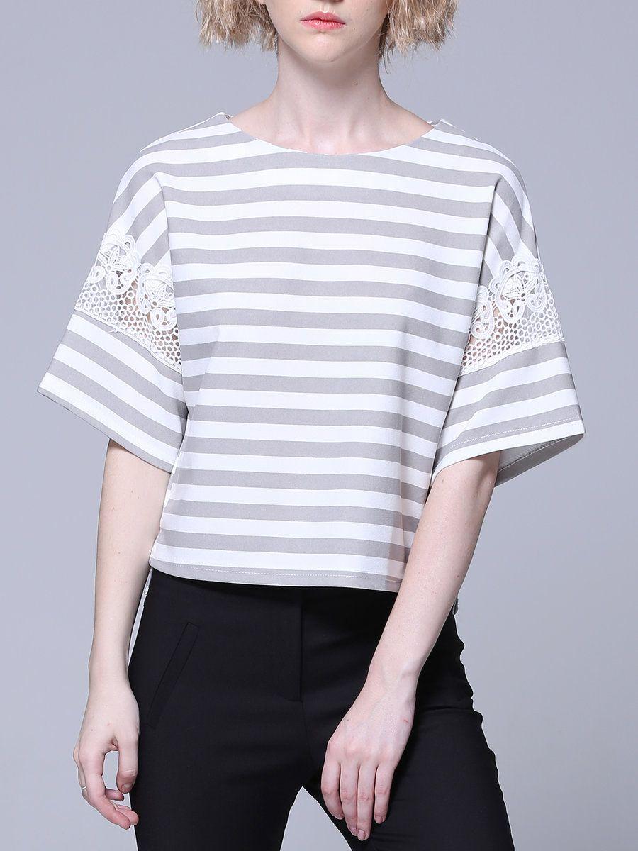 Adorewe stylewe irina miro crew neck lace simple paneled short
