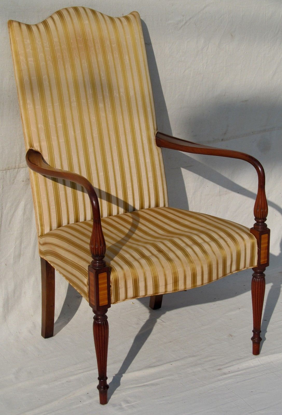 Centennial Sheraton Style Mahogany Lolling Chair With Bold Ebony And  Satinwood Inlaid Panels. Antique Furniture