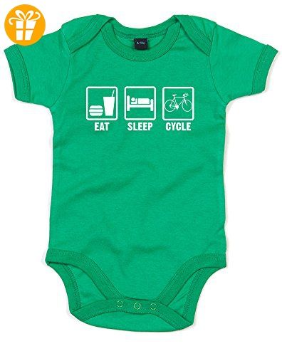 Eat Sleep Cycle, Gedruckt Baby Strampler - Grün/Weiß 12-18 Monate (*Partner-Link)