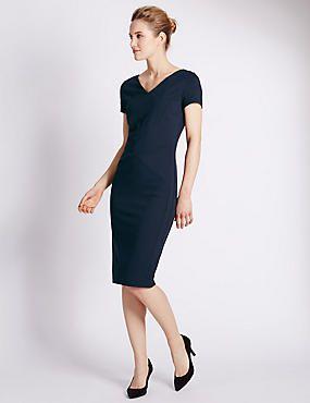 36e954f2d0 Secret Support™ Ponte V-Neck Shift Dress