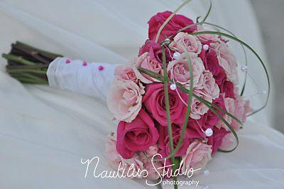 brautstrau mit rosen in pink bridal bouquet green. Black Bedroom Furniture Sets. Home Design Ideas