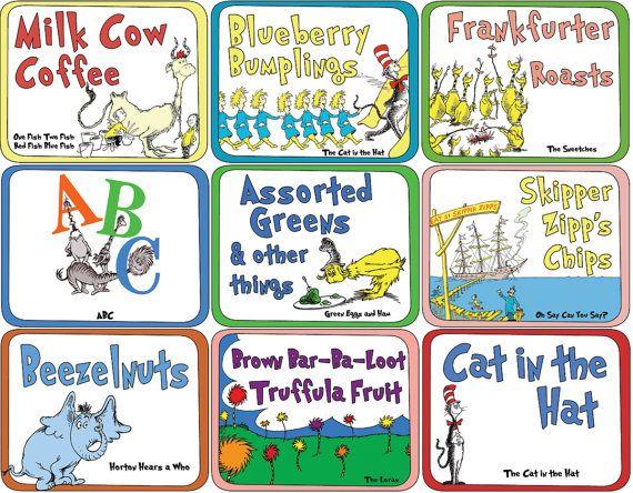 Dr Seuss Food Labels Instant Download Large Set Of 35 Dr