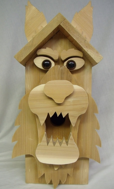 "Big Bad ""Wolfy"" Birdhouse of Solid Cedar. 48.00, via Etsy"