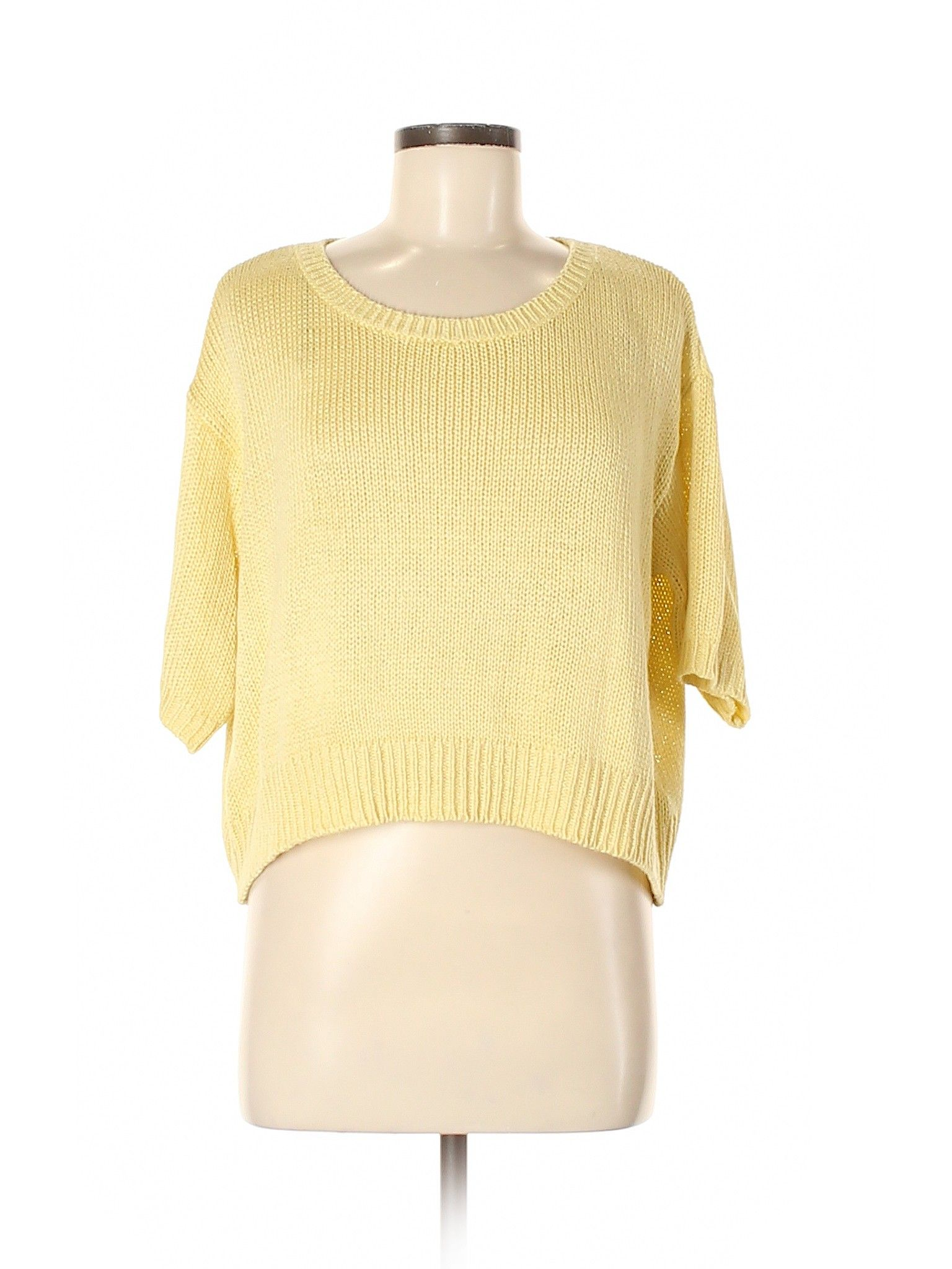 H & M Pullover Sweater: Yellow Solid Scoop Neck Women's Tops