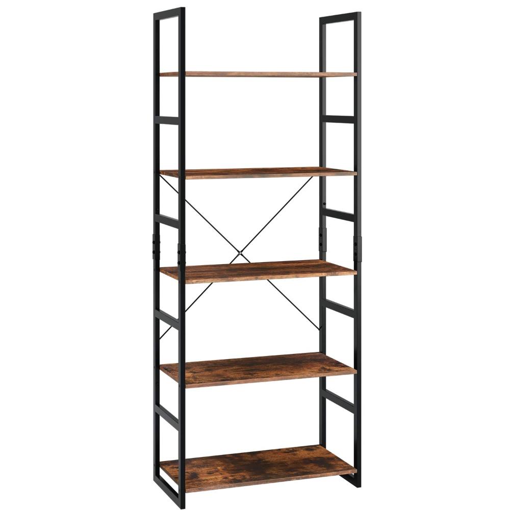 Homfa Standing Bookcase With 5 Levels High Shelf Storage Shelf