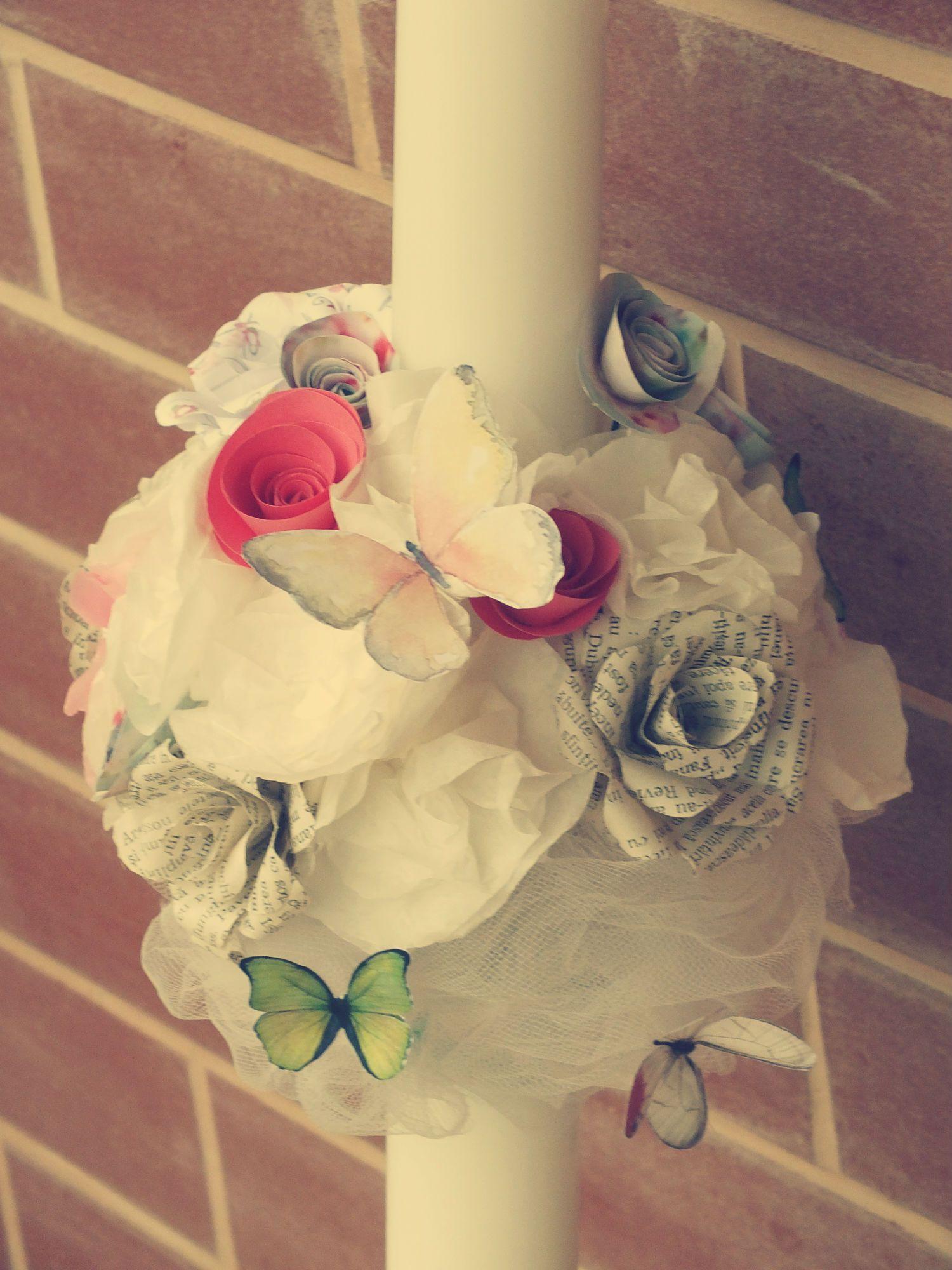 Lumanare botez cu flori din hartie /Batpism candle with paper flowers