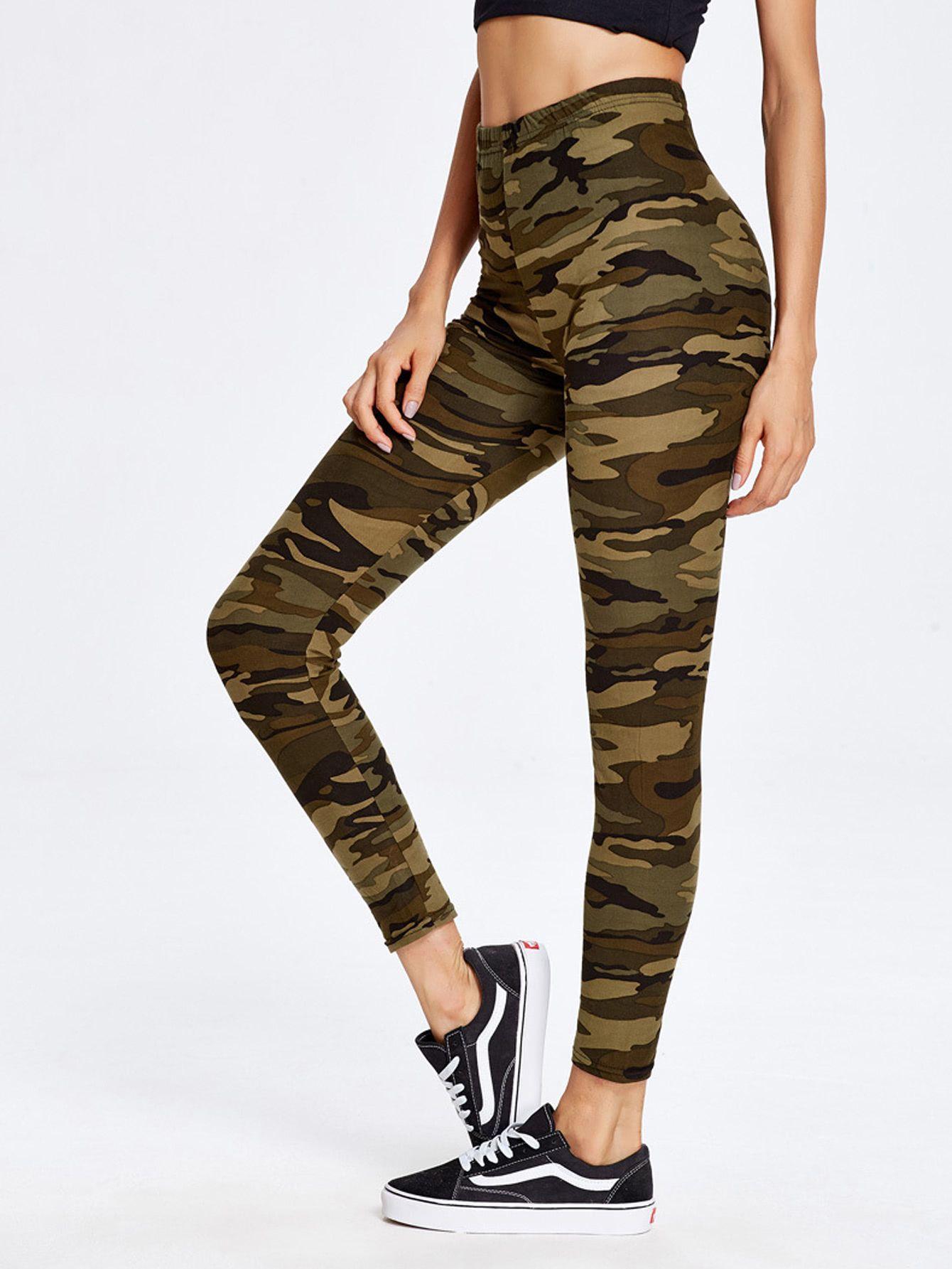 Shop Camouflage Print Ankle Leggings online. SheIn offers Camouflage Print  Ankle Leggings   more to 188017bed46
