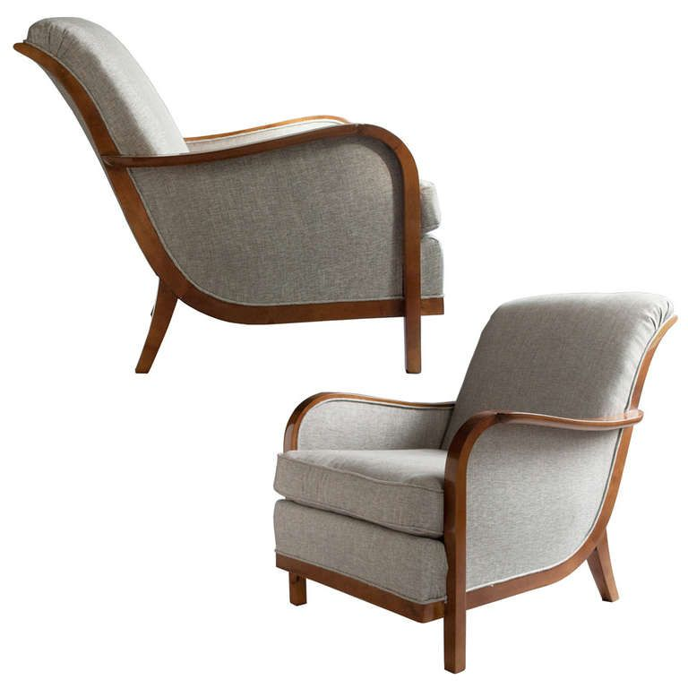 Pair Of Swedish Art Deco Lounge Chairs By Wilhelm Knoll, Malmo 1933 |  1stdibs.com