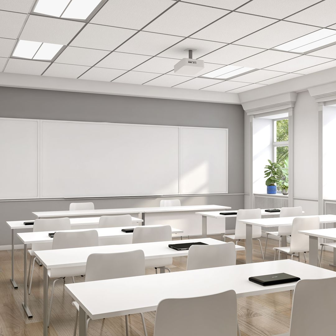 Architectural Led Light Fixture Utilized In Classroom Interior Design Project For Visu Classroom Interior Interior Architecture Design Interior Design Projects