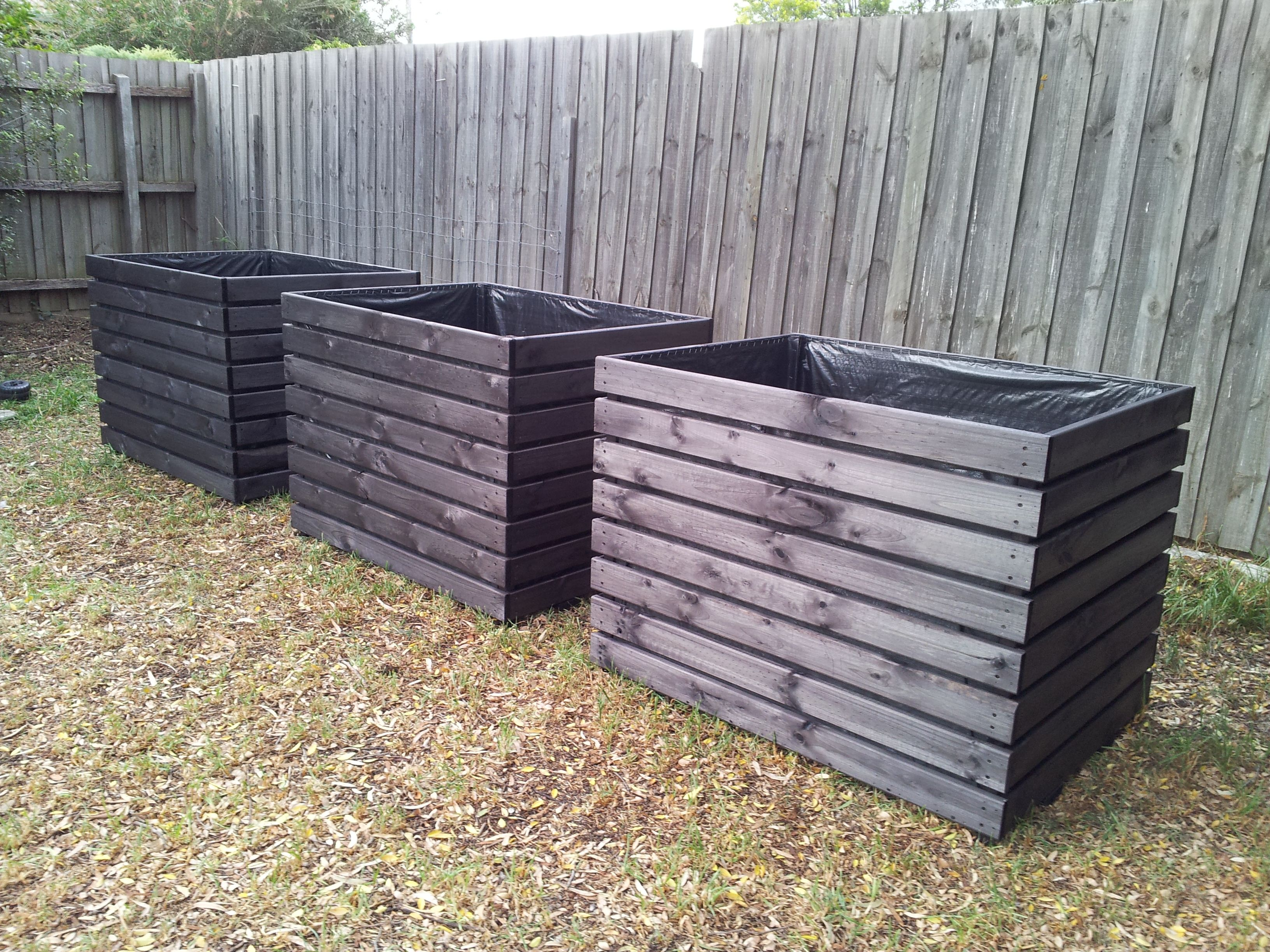 Extra large planter boxes stained in black made to for Large garden planter ideas