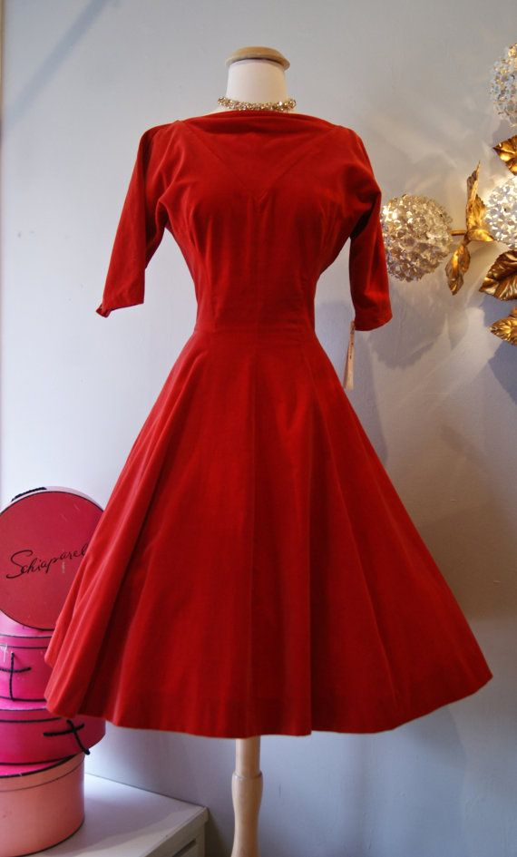 cf9e7e6dcc866 Vintage 50s Red Dress // 1950s Red Velvet Party by xtabayvintage, $198.00