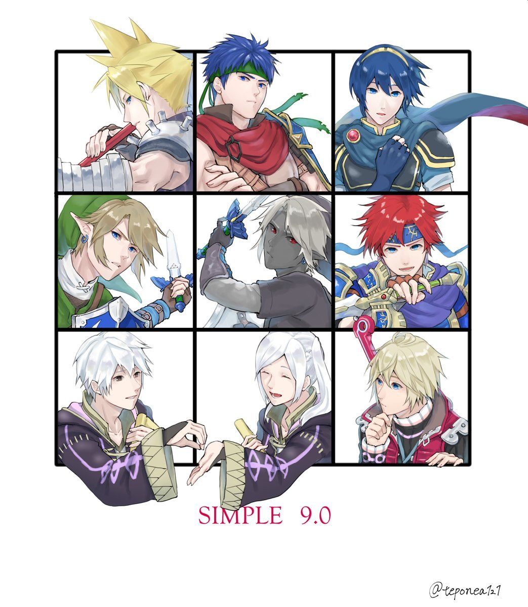 Link, Ike, Dark Link, Shulk, Cloud, Roy, Robin, (Female