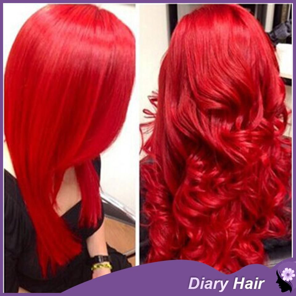 7a Unprocessed Ombre Red Wigs Human Hair Extensions Body Wave