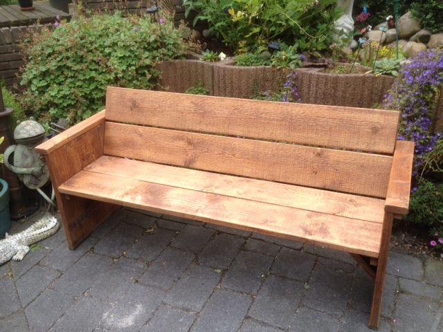 Tuinbank gemaakt van nieuw steigerhout en behandeld met for Houten tuinbank zelf maken