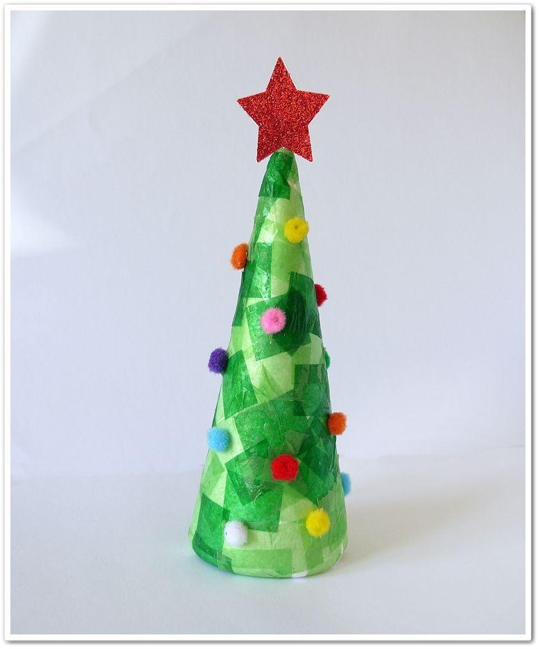 Rbol de navidad con cono de corcho blanco corchos pinterest - Manualidades corcho blanco ...