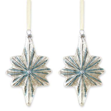MarthaHoliday™ Silent Night Set of 2 Glass Northern Star Christmas ...