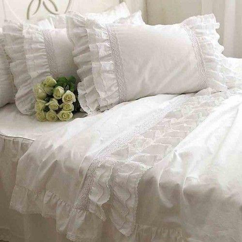 Lace Love Duvet Cover Set White Lace Bedding Duvet Bedding Ruffle Bedding