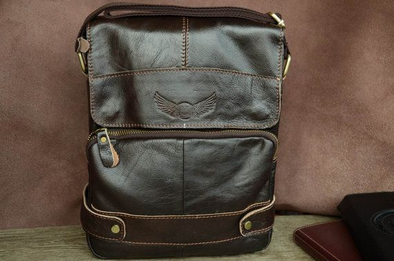 """Men's Bag / 8.5""""(W) x11""""(H) Small Bag / Messenger Bag / Dark Brown / Genuine Leather Bag / Shoulder Bag / Men's Pouch / Leather Clutch/ by SherryJewelry, $39.90"""