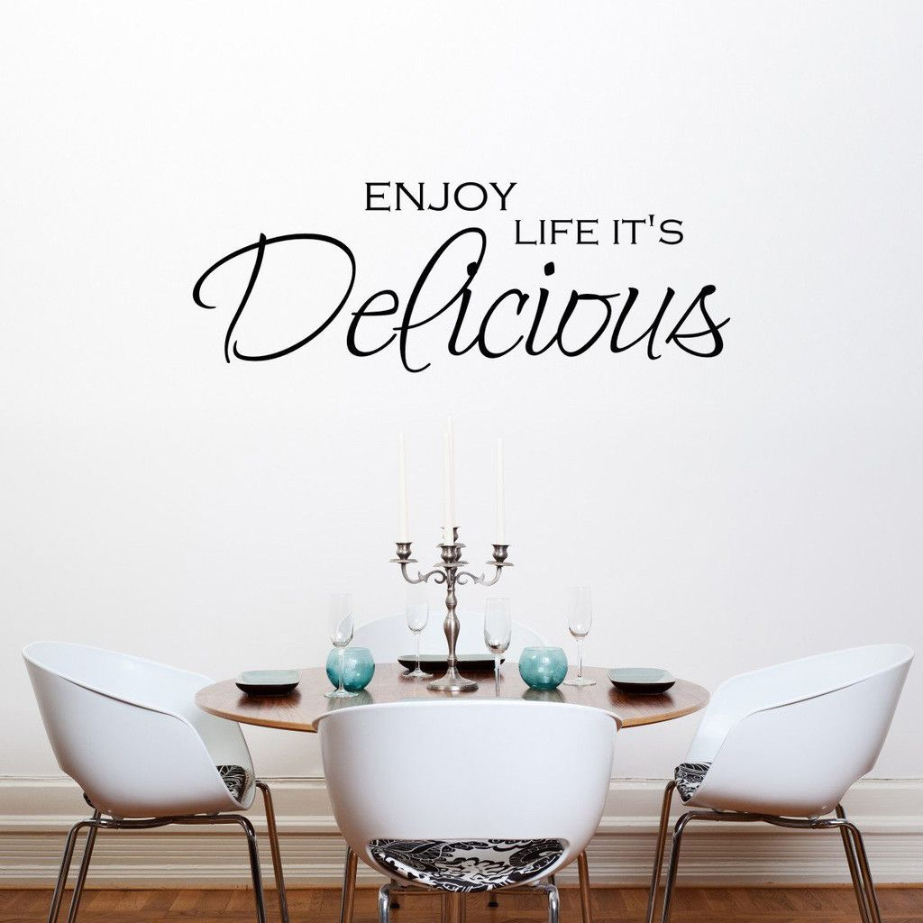 enjoy life its delicious quote wall sticker kitchen wall decals kitchen wall stickers on kitchen decor quotes wall decals id=47127