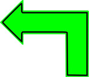 L Shaped Arrow Green Filled Left L Shape Arrow Sticker Sign