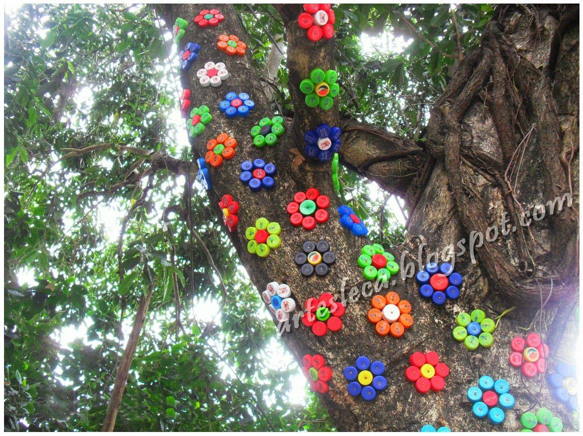 Depilador Aparador Feminino ~ Flores feitas com tampinhas de garrafas PET #artesanato #