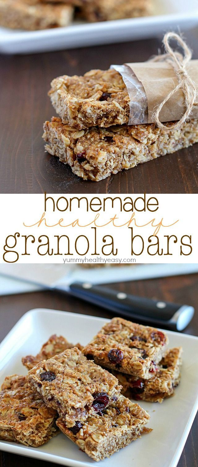Homemade Healthy Granola Bars are full of good stuff – oats, wheat germ, flax seed, dried cranberries, and applesauce to name a few! They're quick to make and are a great healthy snack to eat throughout the week.  A family favorite!