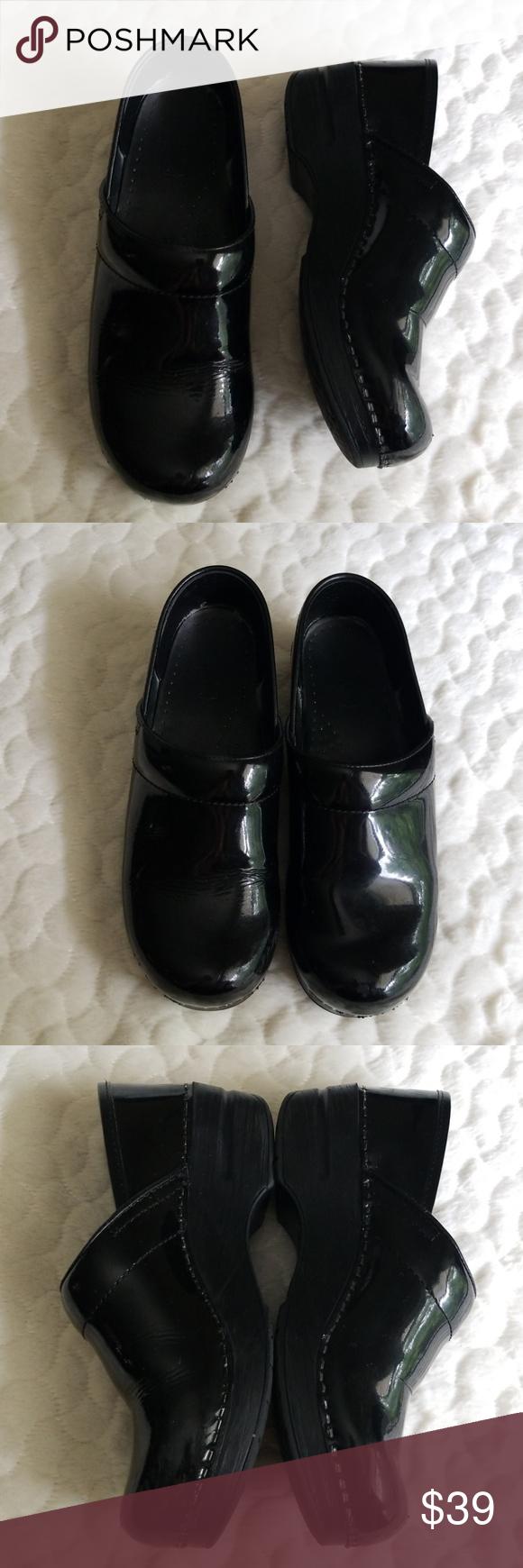 Dansko clogs shiny black nurse shoes