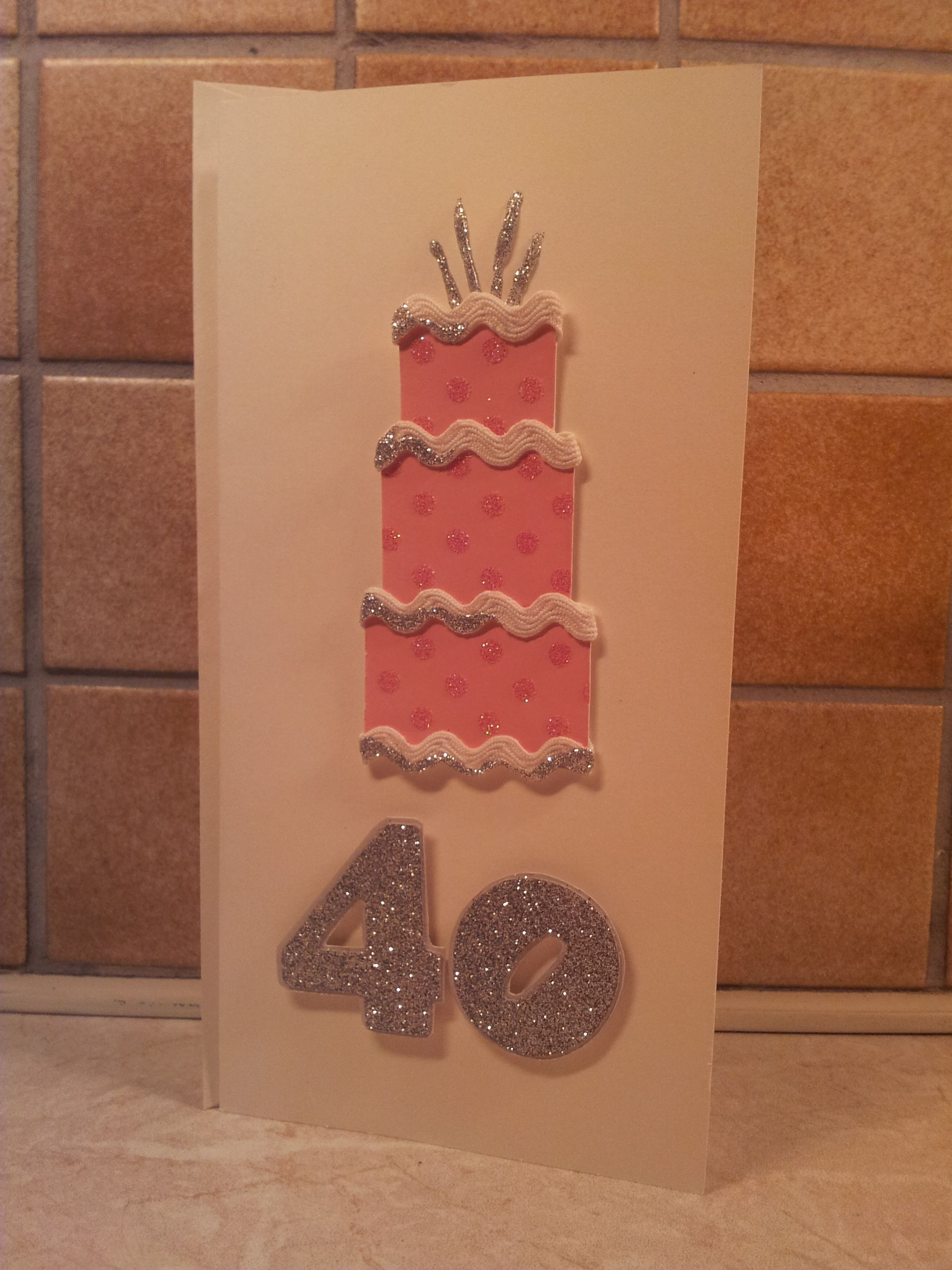 Card Making Ideas 40th Birthday Part - 37: 40th Birthday Card - Female