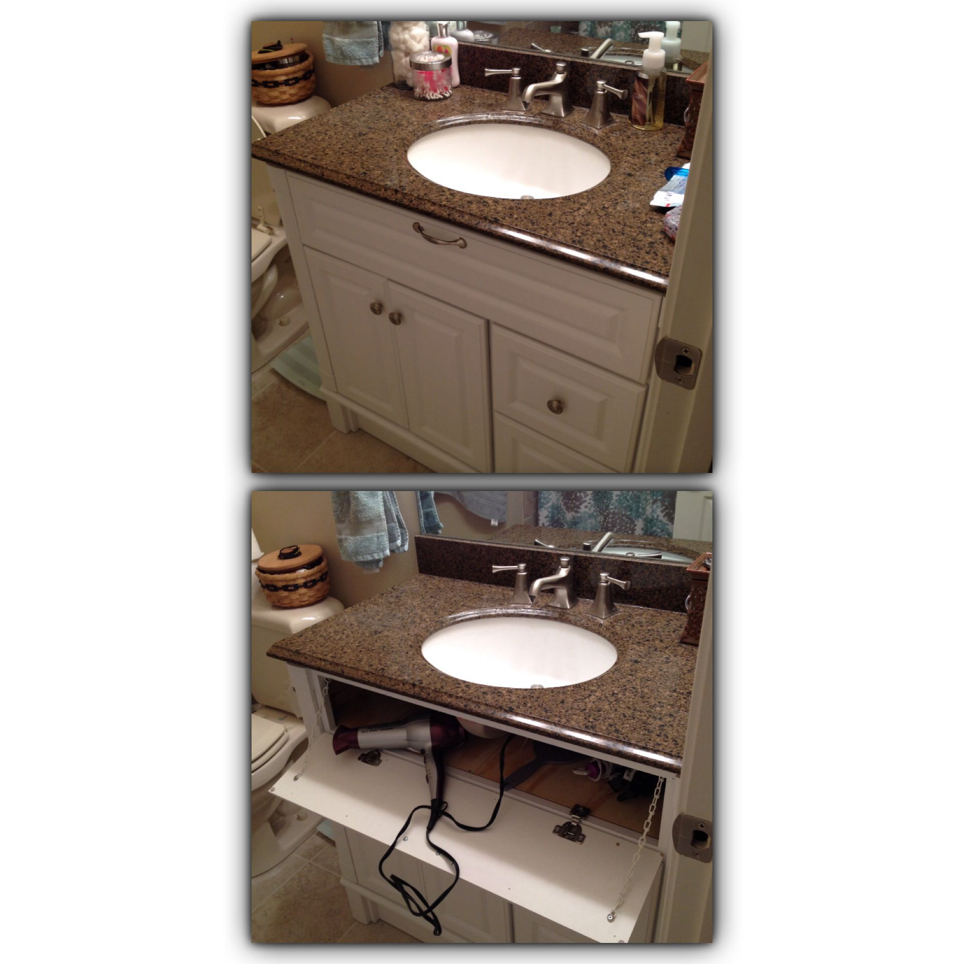 Hair Dryer Storage And Outlet Under Bathroom Sink Thanks To