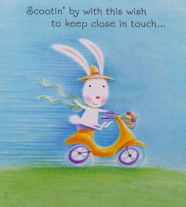 Unused EASTER Greeting Card Bunny Rabbit Scooter Keep in Touch NOS #Hallmark #Easter