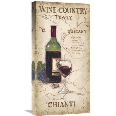 """Global Gallery 'Wine Country IV' by Janet Kruskamp Vintage Advertisement on Wrapped Canvas Size: 24"""" H x 12"""" W x 1.5"""" D"""