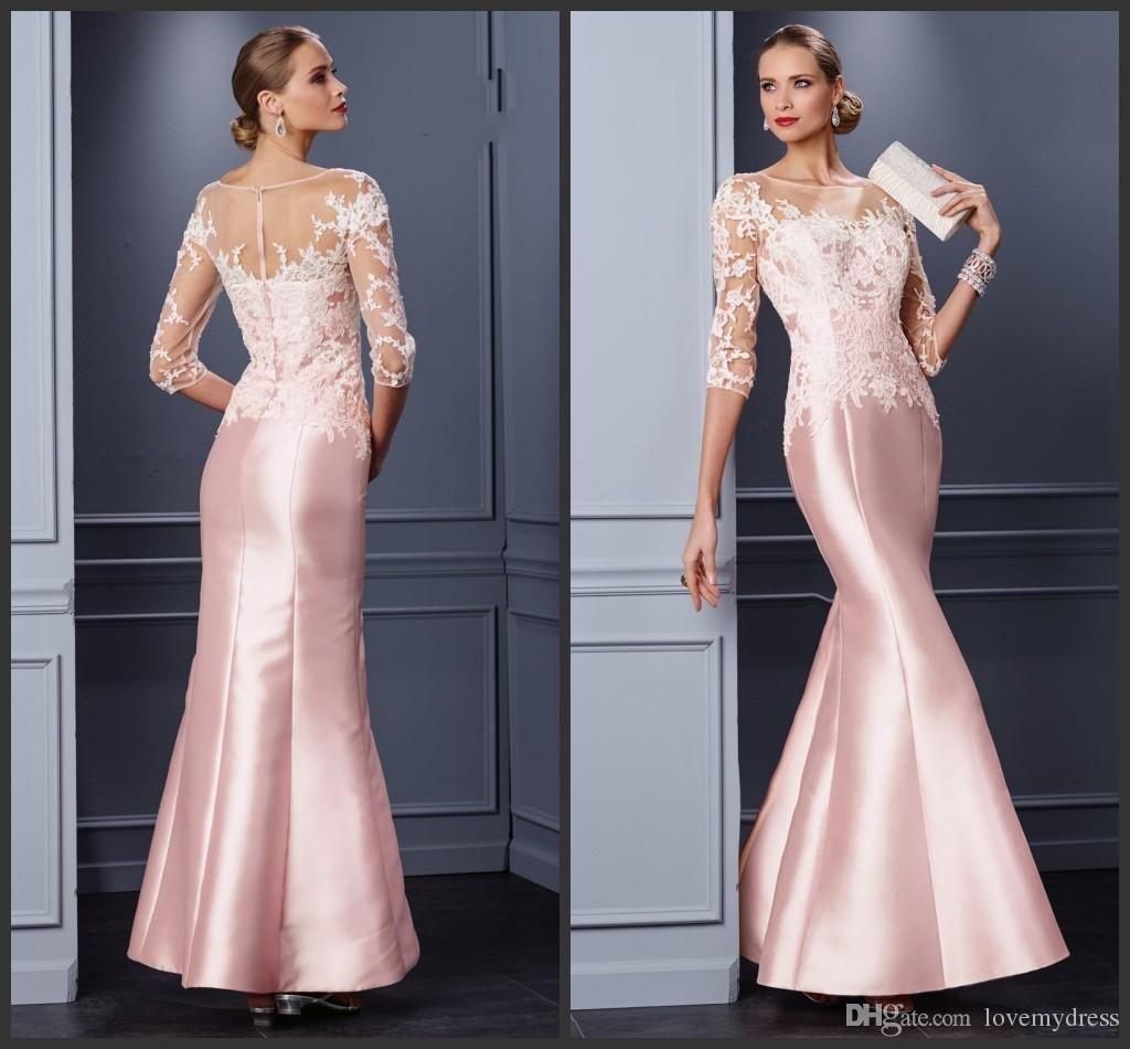 Pink formal dresses mermaid style prom dress long sleeve iullsion