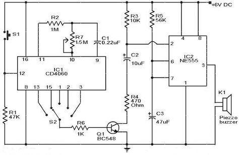 selective timer alarm circuit using ic 555  u0026 cd4060