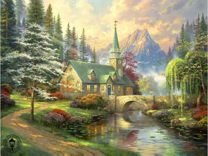 Thomas Kinkade Dogwood Chapel Painting Limited Edition ...