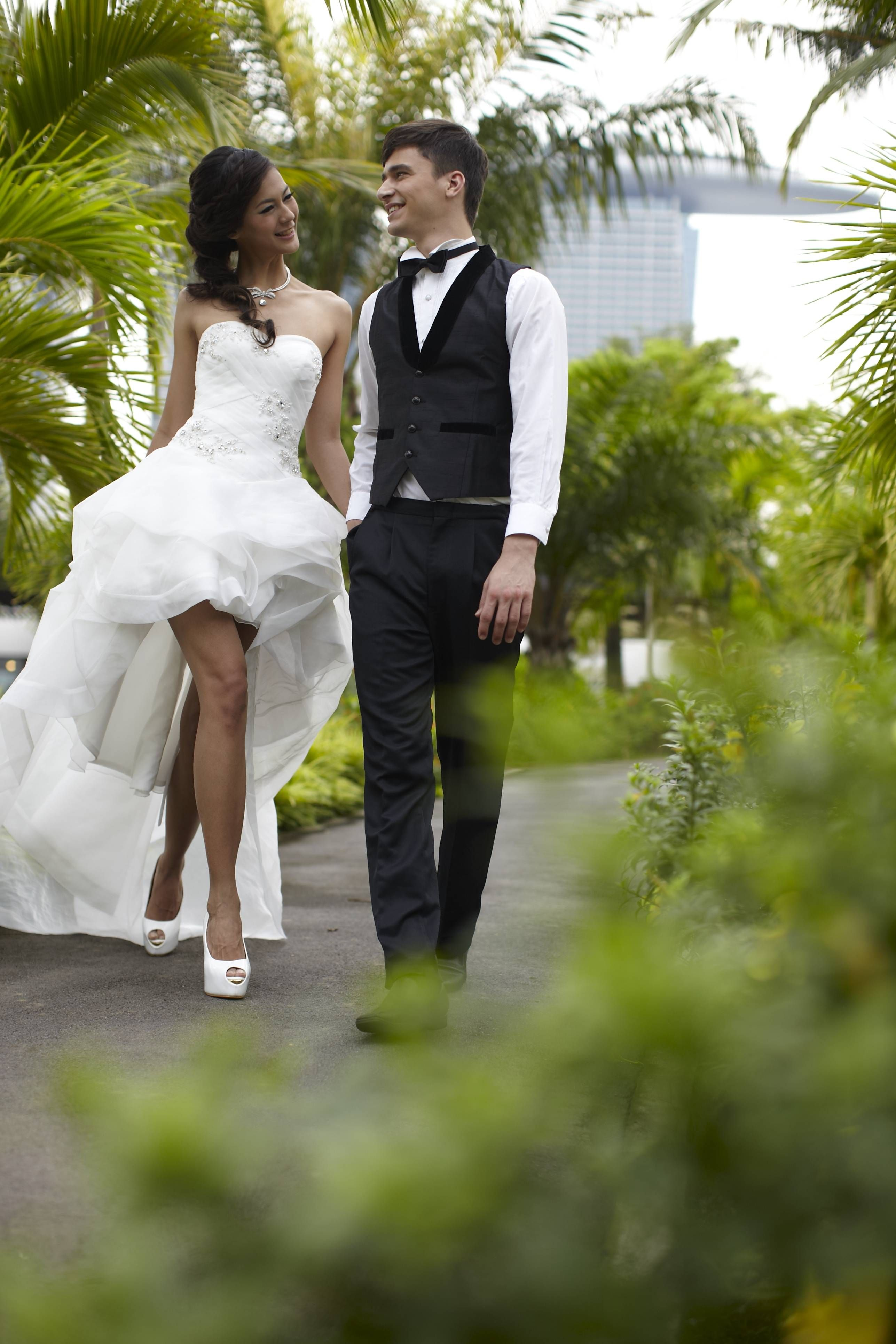 Short front long back strapless wedding gown | French Wedding ...