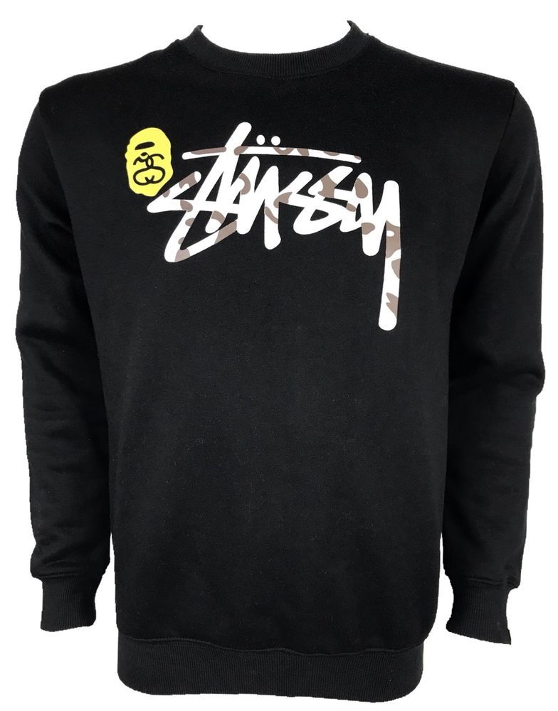 987ca4eed72b Stussy X Bape Men s Large Sweatshirt Shark Logo Crewneck A Bathing Ape  Sweater