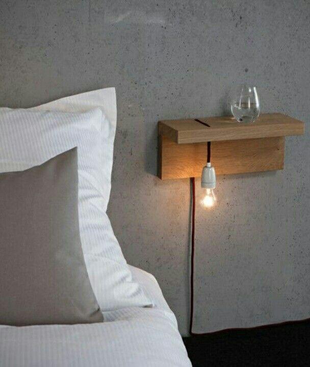 Pin By Janet Linde On Lighting Minimalist Bedside Table Floating Shelves Diy Furniture
