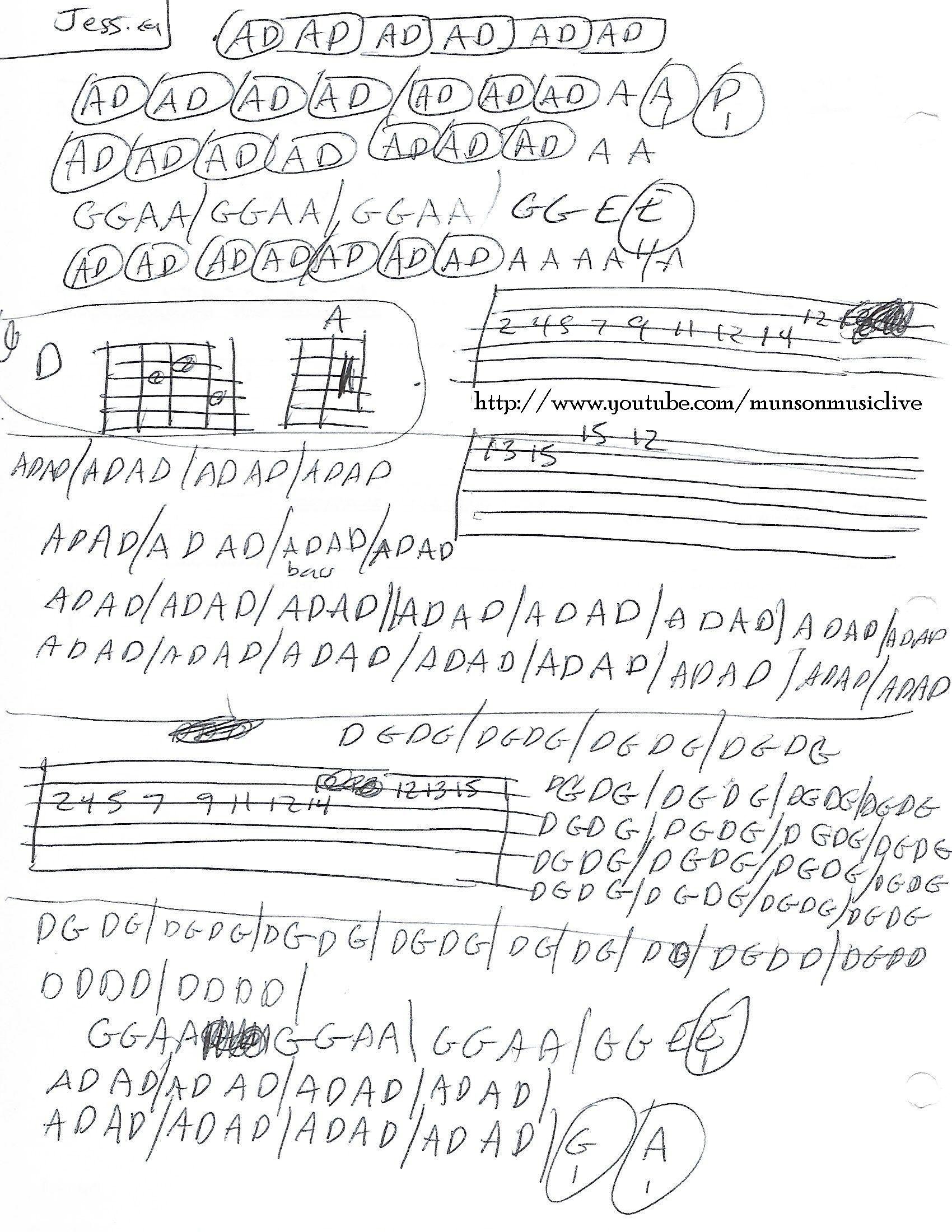 Jessica Allman Brothers Guitar Chord Chart Guitar Lesson Chord
