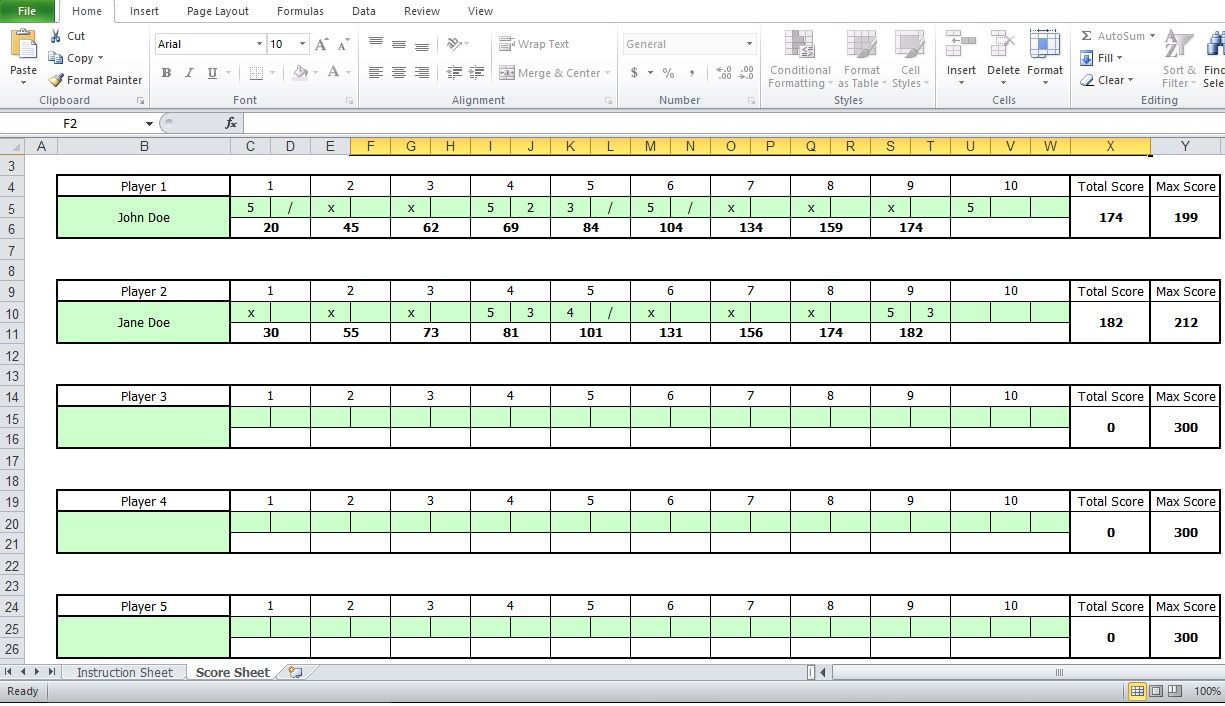 Bowling Score Sheet Excel Template Excel Templates Templates Excel