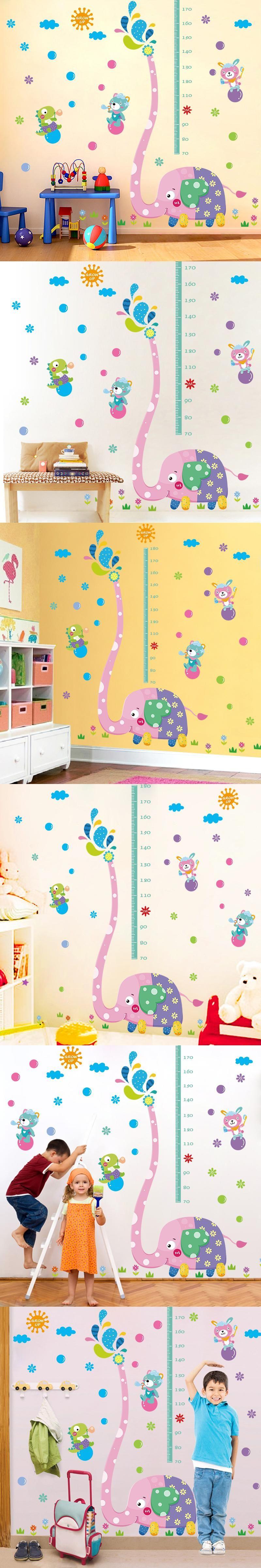 Elephant Kids Height Chart DIY Wall Stickers Home Decor Cartoon Grow ...