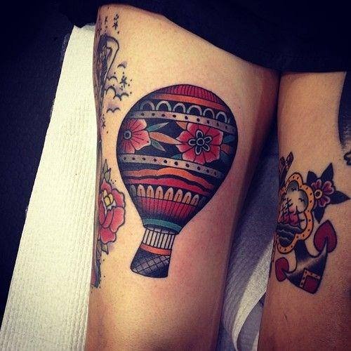 hot air balloon tattoo - traditional colours.